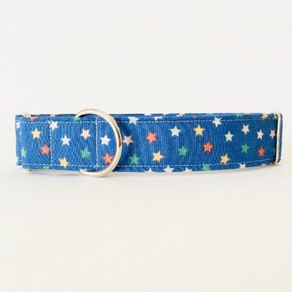 Collar para perro estrellas azul navidadCMP