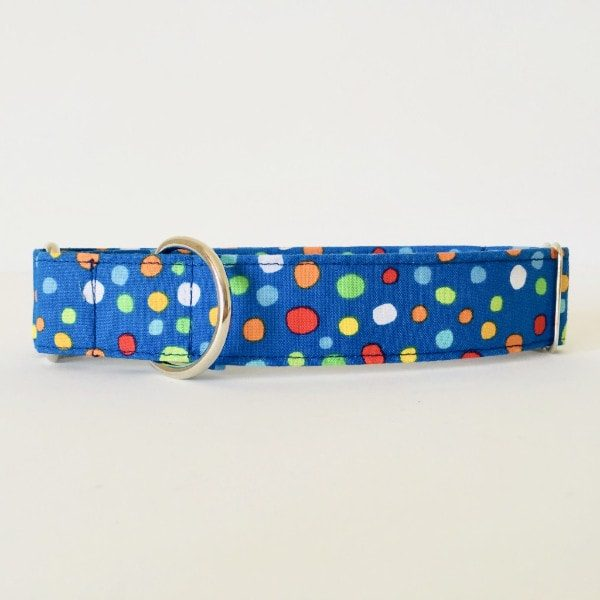 Collar para perro lunares azul coloresCMP