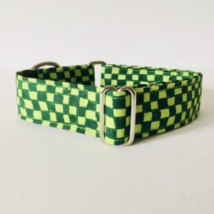 MARTINGALE DOG COLLAR GREEN CHECKERBOARD 1