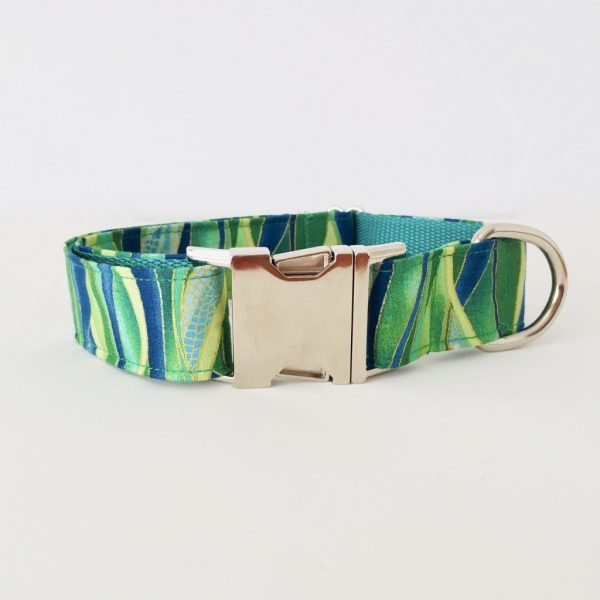 METAL SIDE RELEASE DOG COLLAR DRAGONFLY EMERALD 6