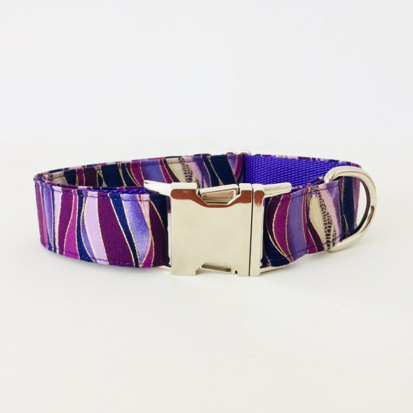 METAL SIDE RELEASE DOG COLLAR DRAGONFLY PLUM 6