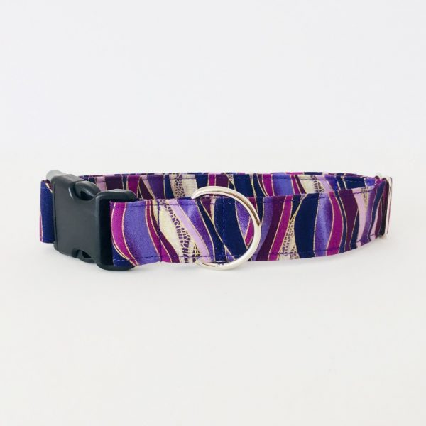 PLASTIC SIDE RELEASE DOG COLLAR DRAGONFLY PLUM 7