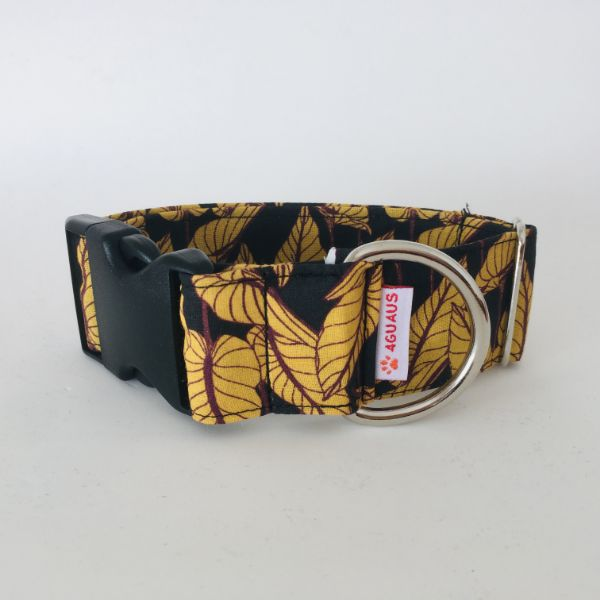 collar perro Hojas Negro 6-min