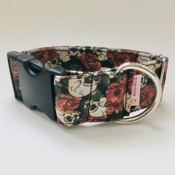 collar perro calaveras y rosas 6-min