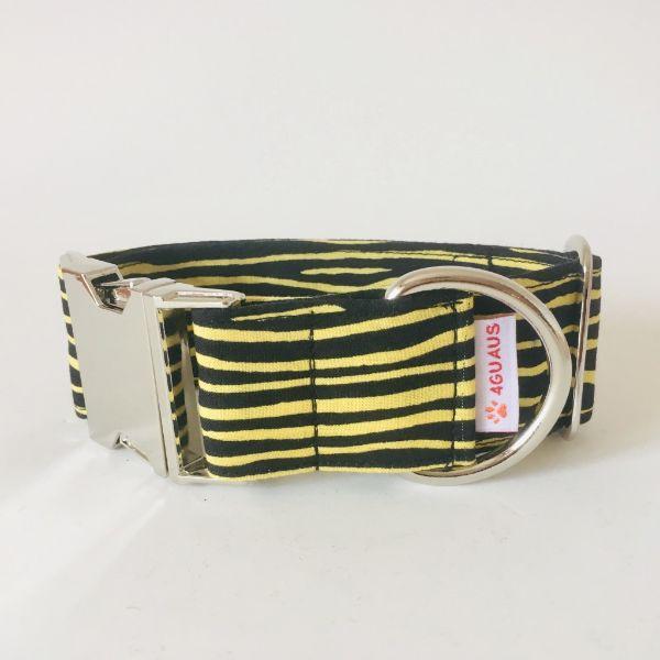 collar perro cebra negro y amarillo 4-min