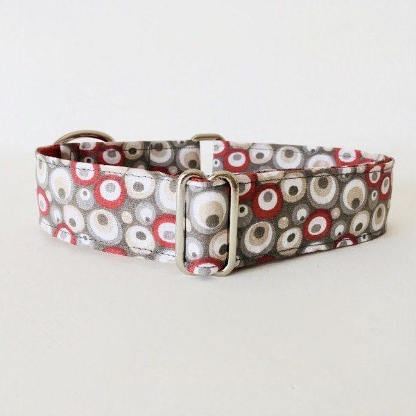 collar perro circulos rojo y gris 1
