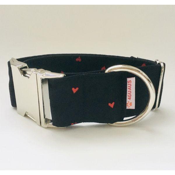 collar perro corazones negro 4-min