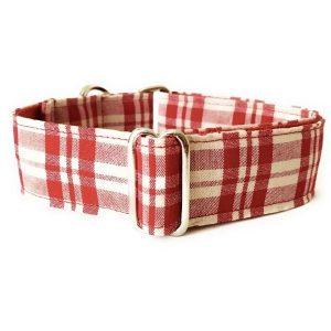 collar perro cuadros rojo y beige FB-min