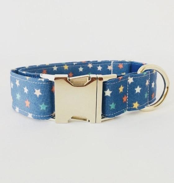 collar perro estrellas azul navidad 1