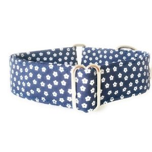 collar perro flores mini azul marino FB-min