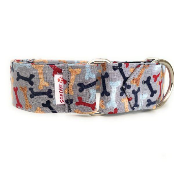 collar perro huesos gris 2-min
