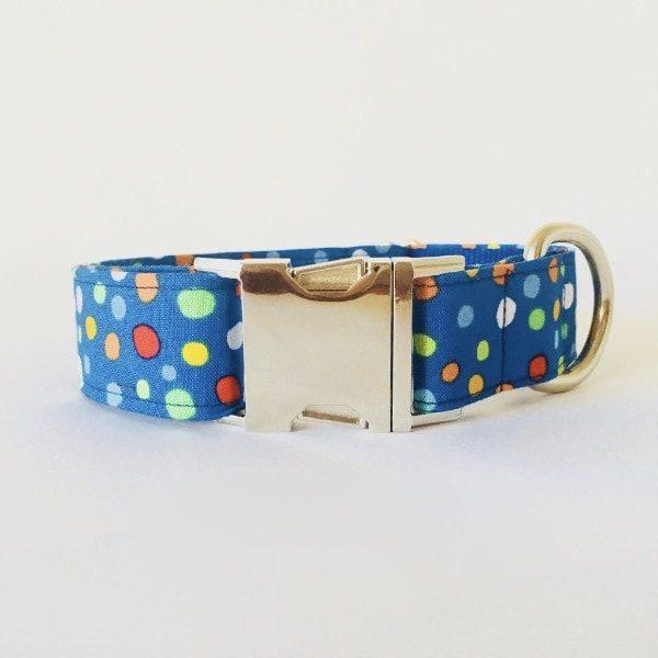 collar perro lunares azul colores 1