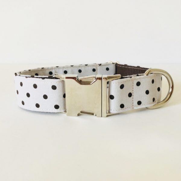 collar perro lunares marron beige 2