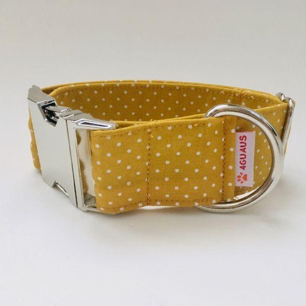 collar perro lunares mostaza mini 4-min