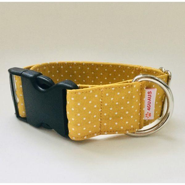 collar perro lunares mostaza mini 6-min
