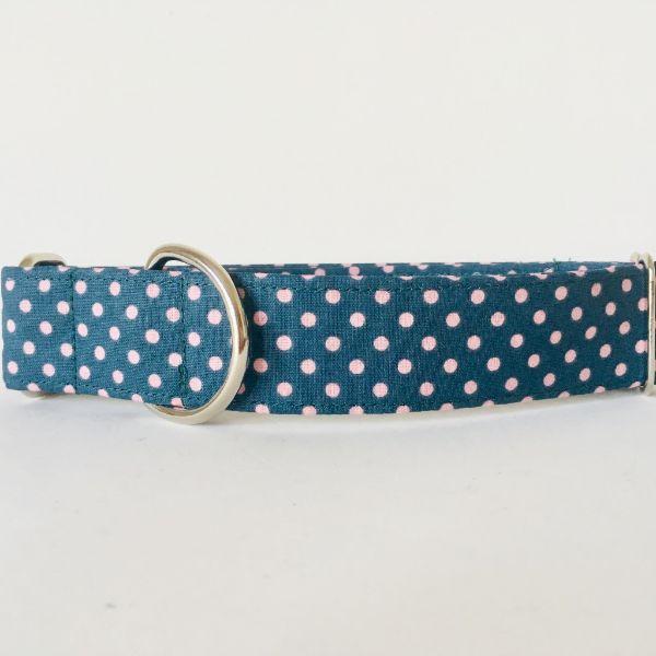 collar perro lunares rosa y verde oscuro 2-min