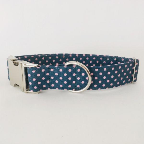 collar perro lunares rosa y verde oscuro 4-min