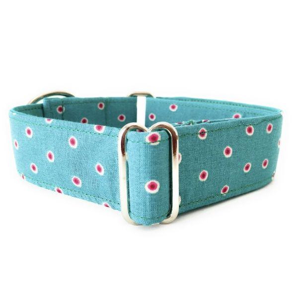 collar perro lunares verde y rosa FB-min