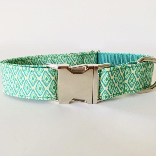 collar perro rombos verde 1