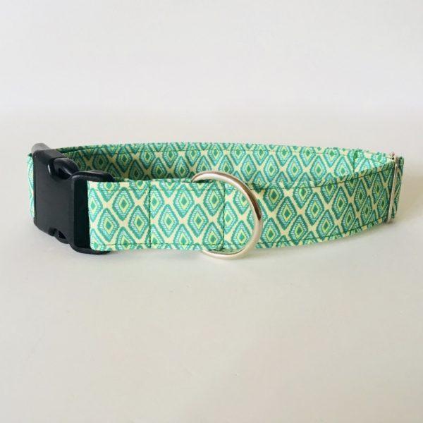collar perro rombos verde 2