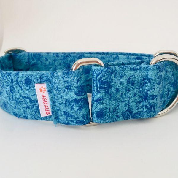 collar perro rosas azules 2-min