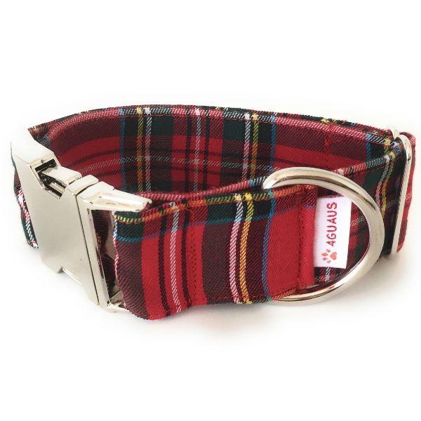 collar perro tartan rojo 4-min