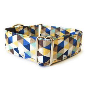 collar perro triangulos azul y marron FB-min