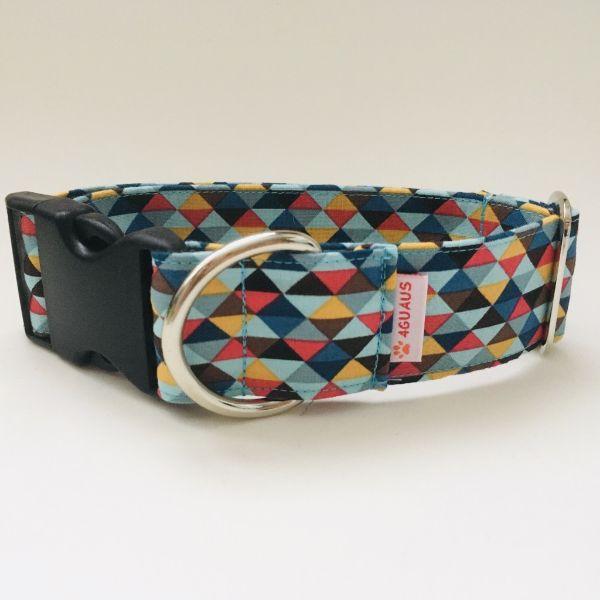 collar perro triangulos azul y rojo 6-min