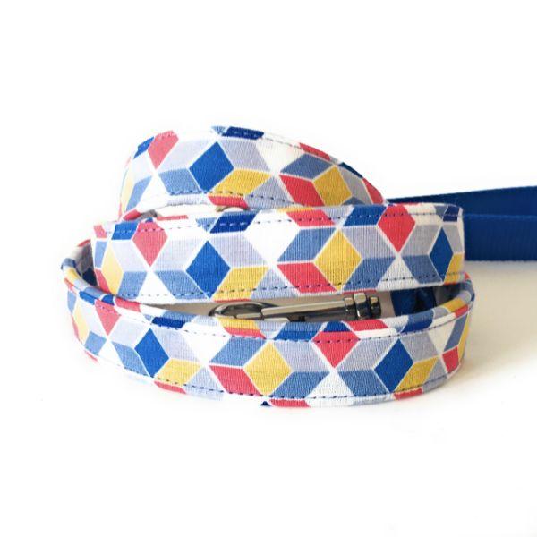 correa perro geometrico azul 1-min