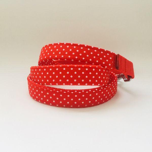 correa perro lunares rojo mini-min